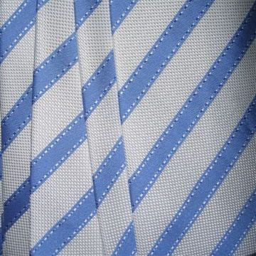 White, Light Blue Striped Necktie
