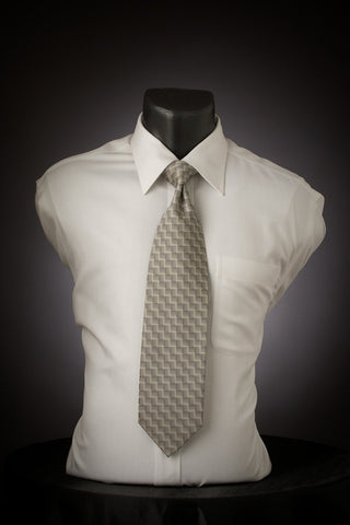 Platinum Water - Silver Necktie with Square Design