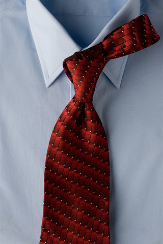 Red Dial - Red Necktie with Geometric Pattern