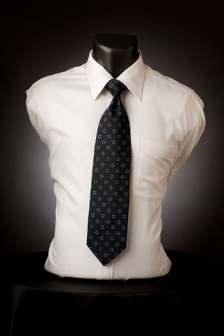 Navy Squared - Navy Necktie with Square Design