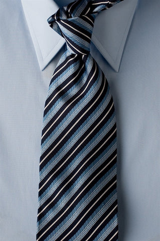 Blue Glow - Blue Necktie with Light Blue and White Stripes