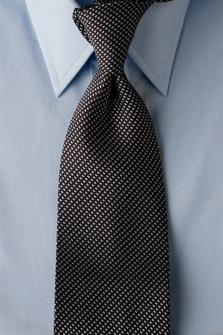 Midnight Runner - Black Necktie with Grey Squares