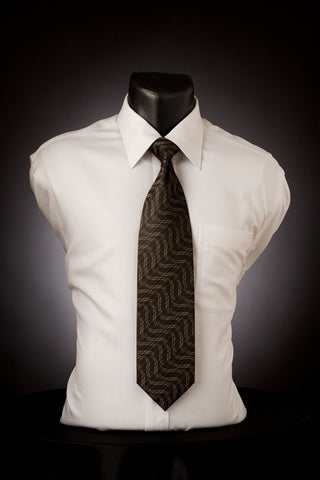 Charcoal Suave - Brown Necktie with Wave Design