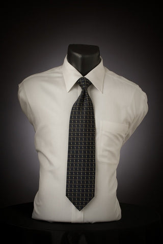 Navy Chrome - Dark Blue Necktie with Square Pattern