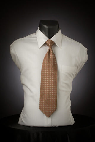 Sunset Water - Brown Necktie with Square Design