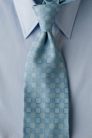 Baby Moon - Light Blue Necktie with Square Pattern