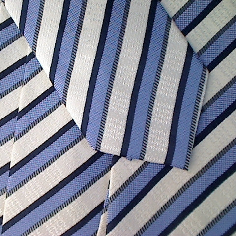 Blue Striped Necktie With A Dark Blue Stripe and White Textured Stripe