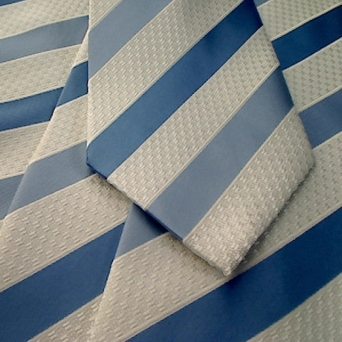 White Textured Necktie with Blue Stripe