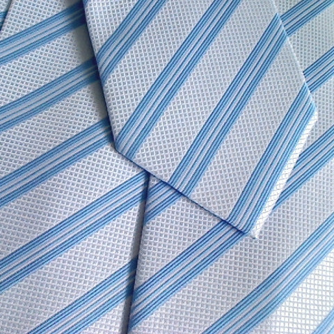 White Necktie With Blue Stripe and White Texture