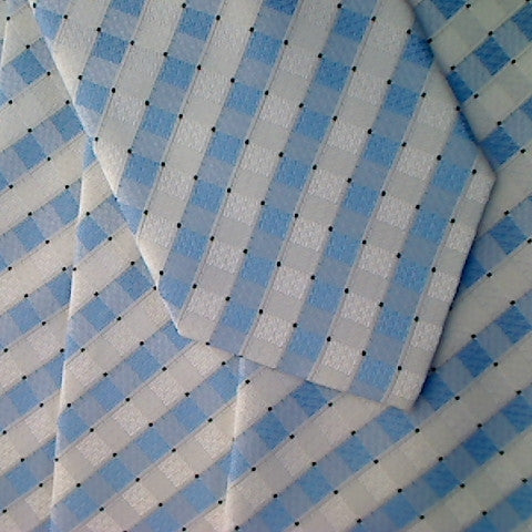 White Necktie With Light Blue and White Cris-Cross Pattern