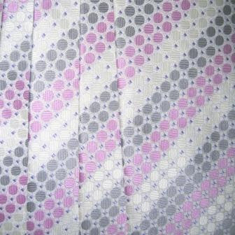 Purple/Pink, White, Grey Striped Necktie With Circle Texture