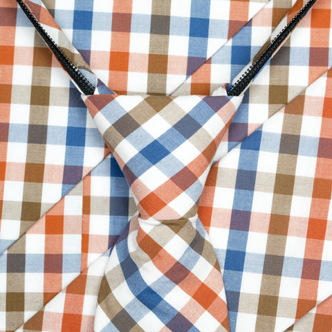 Picnic - Orange, Blue, Brown, White Gingham Kids Zipper Tie