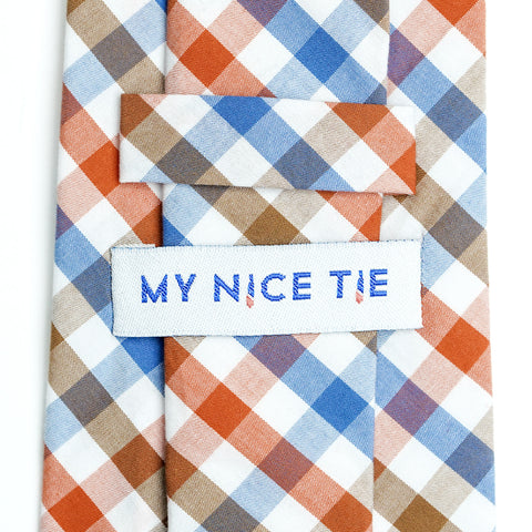 Picnic - Orange, Blue, Brown, White Gingham Long Necktie