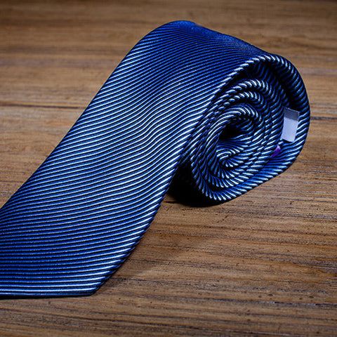 JuJu Stripe Blue - Blue Striped Necktie