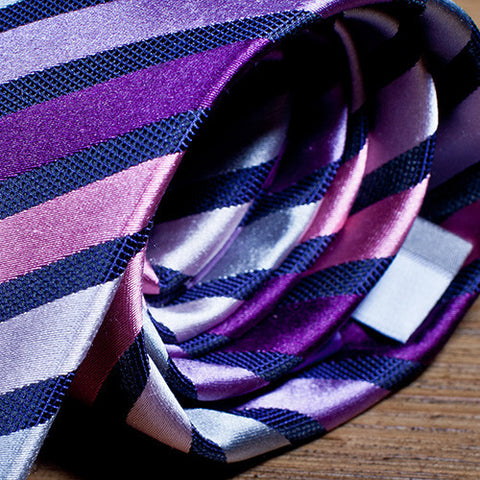 James - Purple Striped Necktie