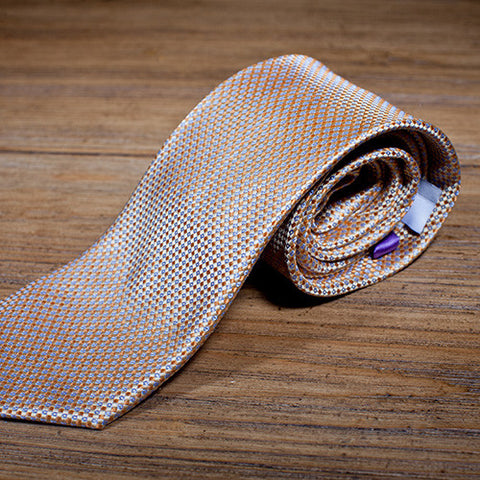The Heartland - Tan Necktie with Light Blue Weave