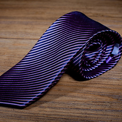 Gustaf - Purple Striped Necktie