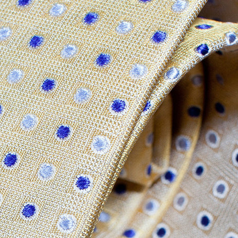 Doc - Tan Necktie with Blue and Light Blue Dots
