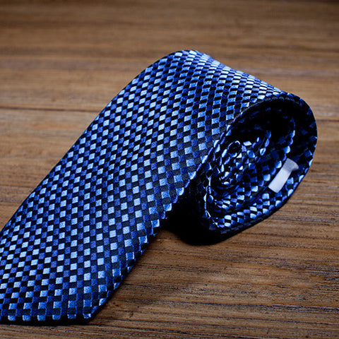 Elevator - Blue Necktie with Square or Checkered Pattern