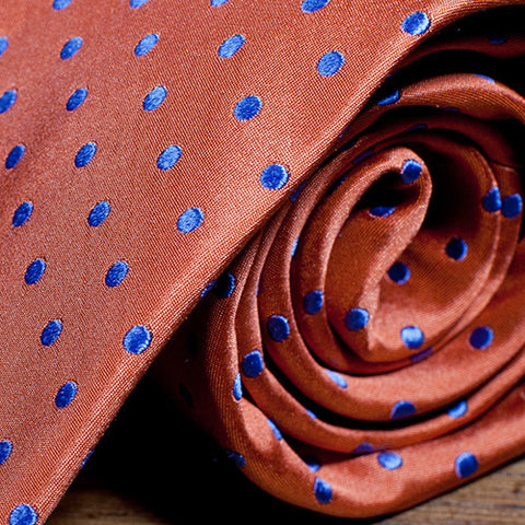 Gilbert Dot Orange - Orange Necktie with Light Blue Dots