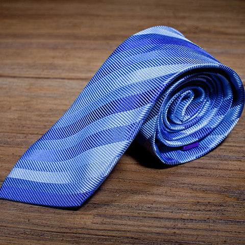 10k Lakes - Light Blue Striped Necktie