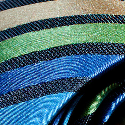 Sandy - Blue Necktie with Light Blue, Green and Brown Stripes