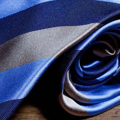 Magno - Striped Necktie With Blue, Light Blue, and Brown