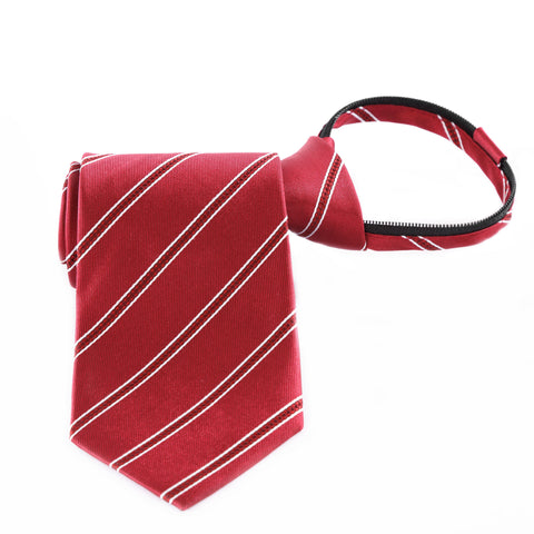 Power Play - Red Zipper Tie with Red and White Stripes