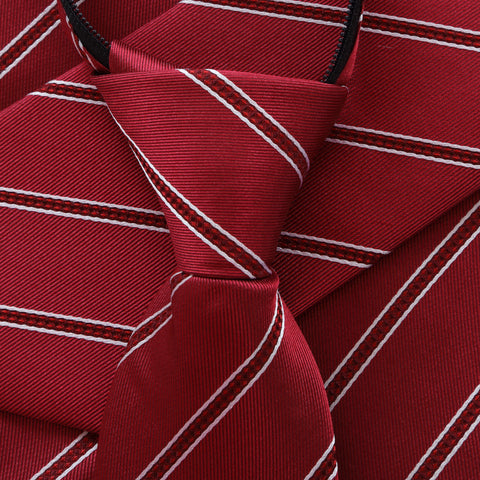 Power Play - Red Kids Zipper Tie with Red and White Stripes