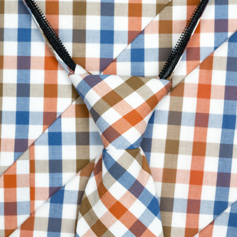 Picnic - Orange, Blue, Brown, White Gingham Zipper Tie