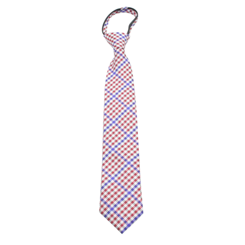 Patriot - Red, White, and Blue Gingham Patterned Kids Zipper Tie