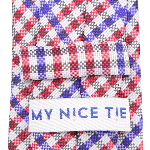 Patriot - Red, White, and Blue Gingham Patterned Long Necktie