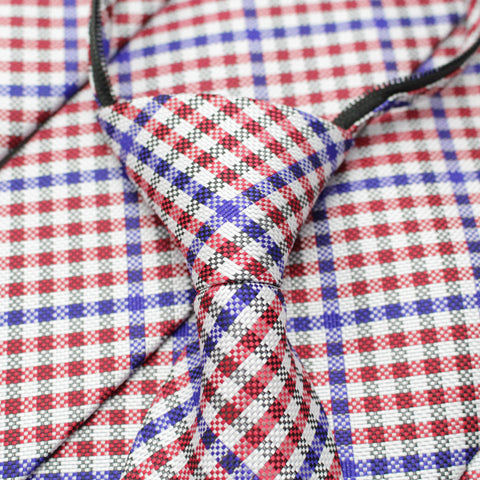 Patriot - Red, White, and Blue Gingnam Patterned Long Zipper Tie