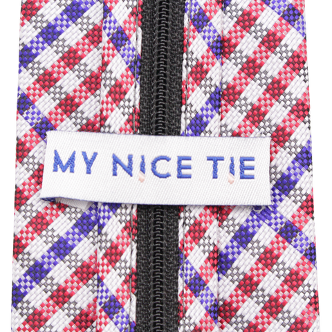 Patriot - Red, White, and Blue Gingham Patterned Long Zipper Tie