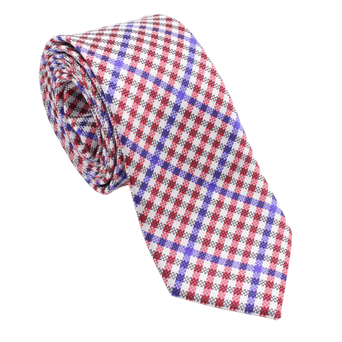 Patriot - Red, White, and Blue Gingham Patterned Necktie