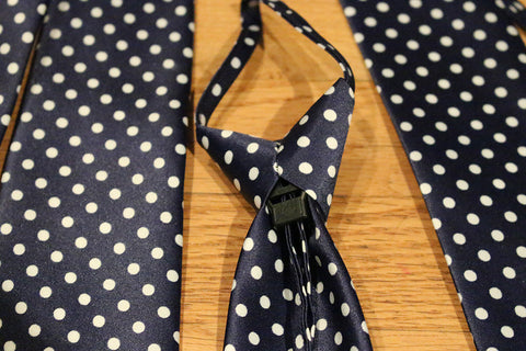Blue Dotted Zipper Tie with White Dots
