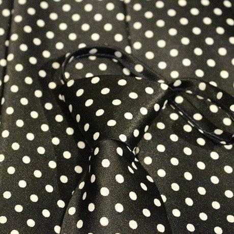 Black Dotted Zipper Tie with White Dots