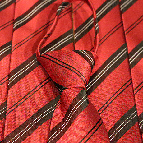 Skinny Red Striped Zipper Tie with Black Stripes and White Lines