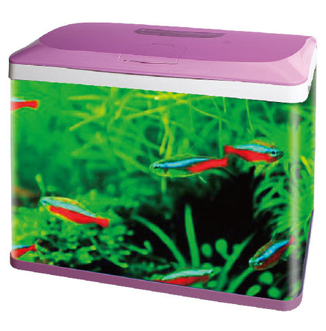 RS500E AQUARIUM (SIZE 50X25X49  CM) BLACK,PINK,BLUE,WHITE