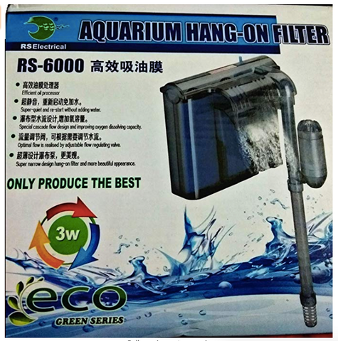 RS-6000 Aquarium Hang on Filter Suitable for Both Fresh and Salt Water.