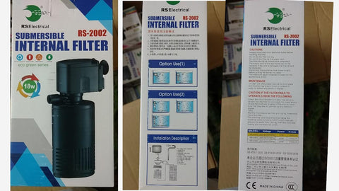Rs Electricals RS 2002 Power Aquarium submersible internal Filter for fish tank Power Aquarium Filter  (Biological Filtration for Salt Water and Fresh Water)