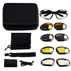 Motorcycle Riding Glasses Black Frame with 4 Lens Kit for Outdoor Activity Sport