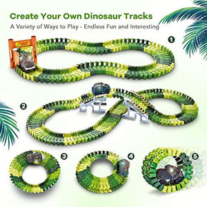 Dinosaur Toys,156pcs Create A Dinosaur World Road Race,Flexible Track Playset and 2 pcs Cool Dinosaur car for 3 4 5 6 Year & Up Old boy Girls Best Gift (Green-1)