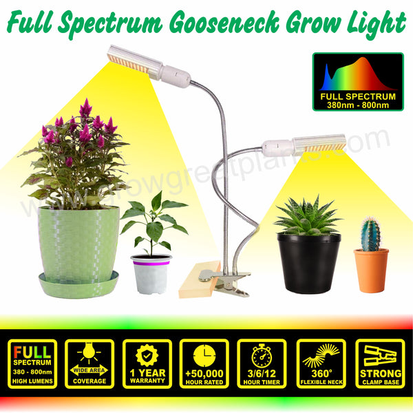 LED Full Spectrum 2-Head Gooseneck Grow Light (Similar to Natural Sunlight)