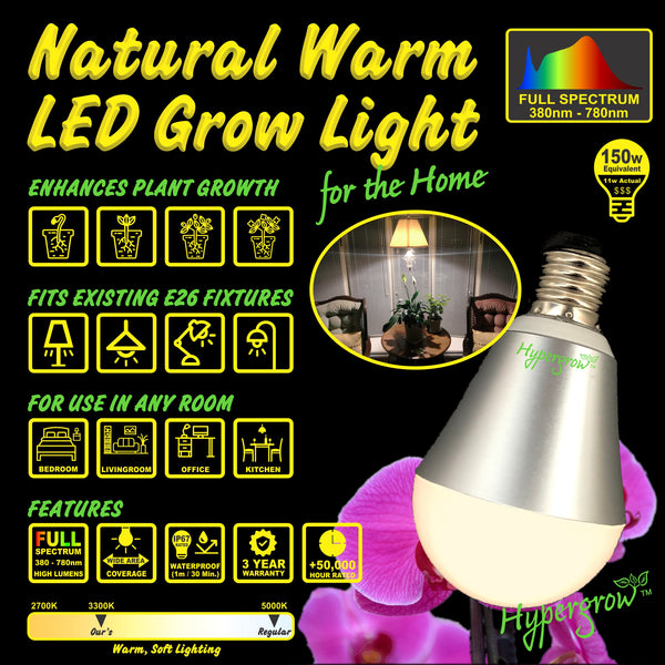 Natural Warm Full Spectrum Grow Light Bulb for Plants and People