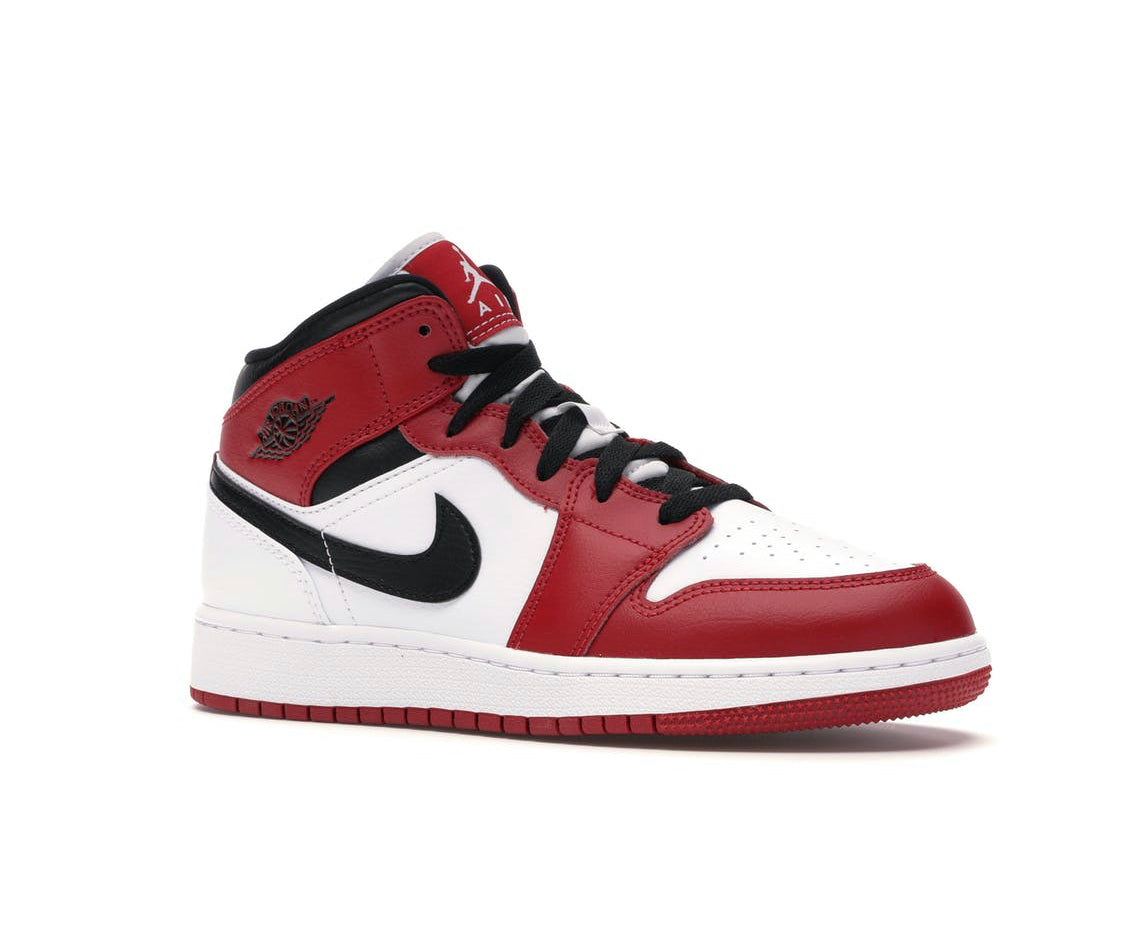 Nike Air Jordan 1 Mid Chicago White Heel
