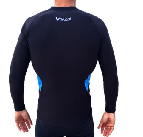 NEW V COLD PERFORMANCE BASE LAYER TOP - BLACK / CYAN - Elite Paddle Gear