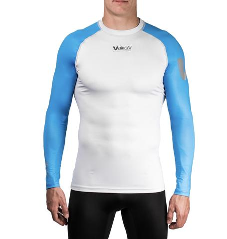 NEW- VOCEAN L/S UV TOP - CYAN-SILVER Front View