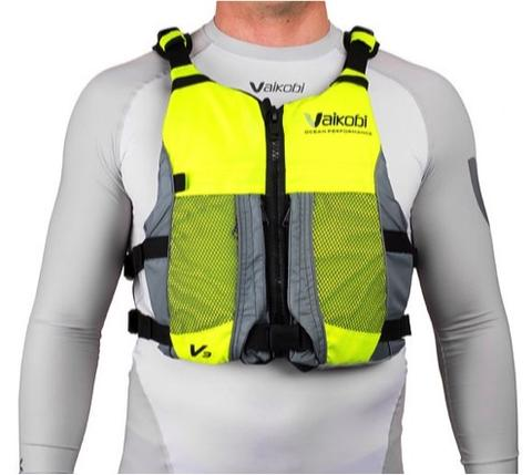 Vaikobi - V3 OCEAN RACING PFD- FLURO YELLOW - GREY Front
