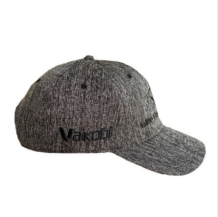 Grey Heather Battle Cap side view Vaikobi Logo